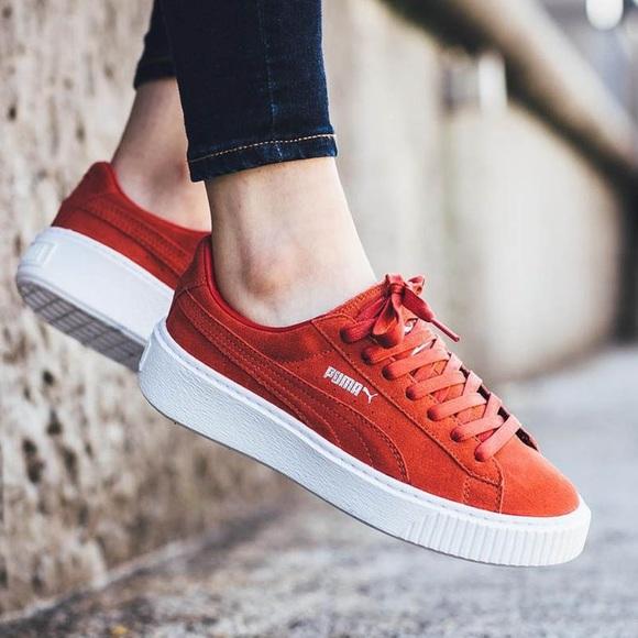 "Puma  Red Suede Platform LowTop ""Creeper"" Sneaker.  M 5c4b9ce7b6a942bd653d54f0 5f0cf3b0a"
